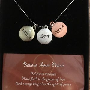 Believe, Love, Peace Charm Necklace